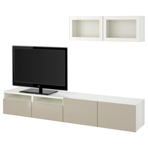 Шкаф для ТВ, комбинированный, стекляные дверцы БЕСТО белый артикуль № 890.661.82 в наличии. Online магазин IKEA Минск. Быстрая доставка и монтаж.