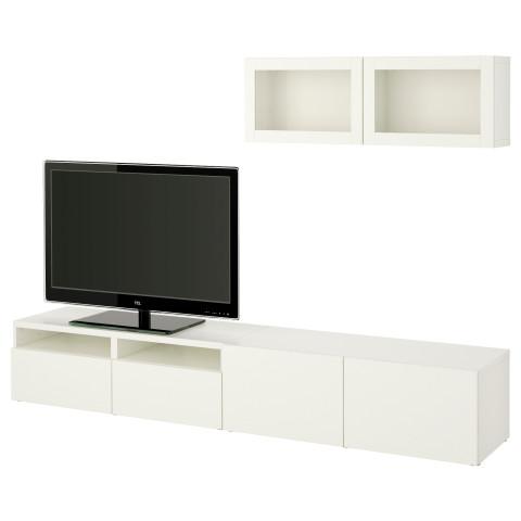 Шкаф для ТВ, комбинированный, стекляные дверцы БЕСТО артикуль № 990.711.16 в наличии. Интернет каталог IKEA РБ. Быстрая доставка и установка.