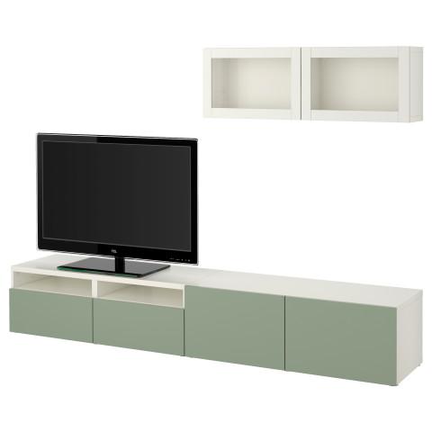 Шкаф для ТВ, комбинированный, стекляные дверцы БЕСТО зеленый артикуль № 990.711.21 в наличии. Online каталог IKEA Минск. Быстрая доставка и установка.