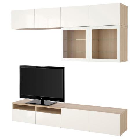 Шкаф для ТВ, комбинированный, стекляные дверцы БЕСТО артикуль № 990.741.34 в наличии. Онлайн каталог IKEA РБ. Быстрая доставка и соборка.