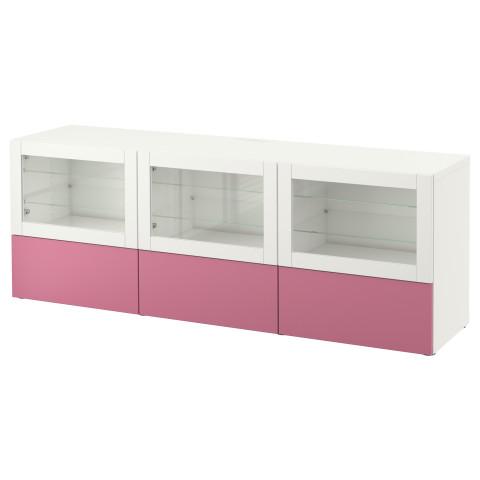 Тумба под ТВ, с дверцами и ящиками БЕСТО розовый артикуль № 990.845.95 в наличии. Онлайн магазин IKEA Беларусь. Быстрая доставка и соборка.