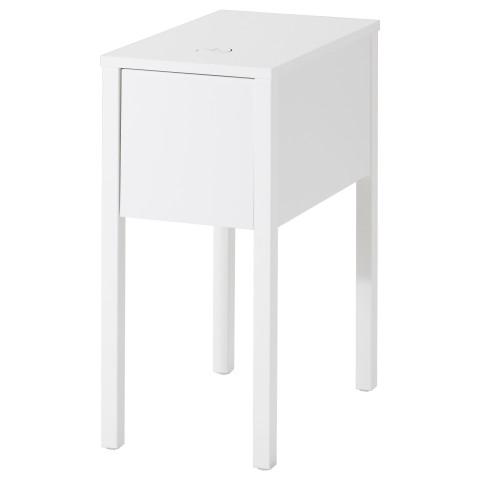 Тумба с беспроводной зарядкой НОРДЛИ белый артикуль № 590.947.37 в наличии. Онлайн магазин IKEA РБ. Быстрая доставка и монтаж.