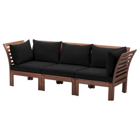 3-местный диван, садовый ЭПЛАРО черный артикуль № 890.540.42 в наличии. Онлайн сайт ИКЕА РБ. Быстрая доставка и установка.