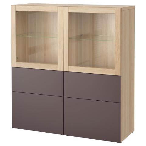 Комбинация для хранения со стеклянными дверцами БЕСТО артикуль № 191.385.40 в наличии. Интернет сайт IKEA Беларусь. Недорогая доставка и установка.