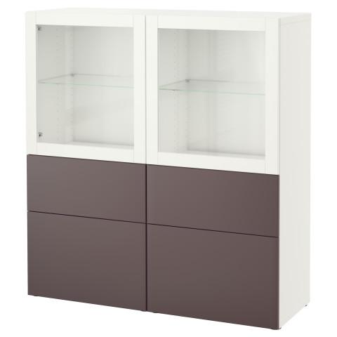 Комбинация для хранения со стеклянными дверцами БЕСТО белый артикуль № 991.385.22 в наличии. Онлайн магазин IKEA Минск. Быстрая доставка и монтаж.
