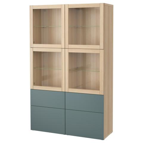 Комбинация для хранения со стеклянными дверцами БЕСТО артикуль № 991.387.39 в наличии. Online сайт IKEA Минск. Быстрая доставка и установка.