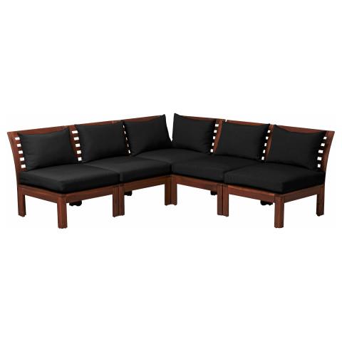 Садовый угловой диван 3 + 2 ЭПЛАРО / ХОЛЛО черный артикуль № 690.540.38 в наличии. Онлайн каталог IKEA Минск. Недорогая доставка и соборка.