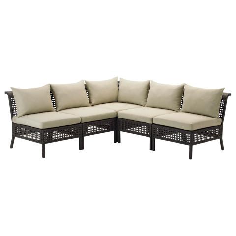 Садовый угловой диван 3 + 2 КУНГСХОЛЬМЕН / ХОЛЛО бежевый артикуль № 490.247.83 в наличии. Online сайт IKEA РБ. Недорогая доставка и монтаж.