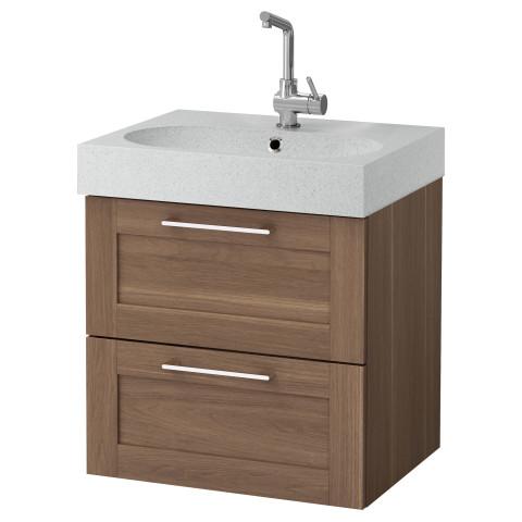 Шкаф для раковины с 2 ящиками ГОДМОРГОН / БРОВИКЕН светло-серый артикуль № 091.275.37 в наличии. Онлайн сайт IKEA РБ. Недорогая доставка и соборка.