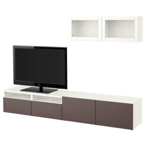 Шкаф для ТВ, комбинированный, стекляные дверцы БЕСТО белый артикуль № 191.373.24 в наличии. Интернет каталог IKEA РБ. Недорогая доставка и установка.