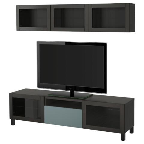 Шкаф для ТВ, комбинированный, стекляные дверцы БЕСТО артикуль № 191.374.23 в наличии. Онлайн магазин IKEA Минск. Недорогая доставка и монтаж.