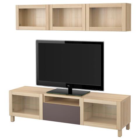 Шкаф для ТВ, комбинированный, стекляные дверцы БЕСТО артикуль № 191.374.56 в наличии. Онлайн магазин ИКЕА РБ. Быстрая доставка и монтаж.