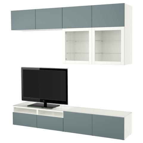 Шкаф для ТВ, комбинированный, стекляные дверцы БЕСТО белый артикуль № 391.391.00 в наличии. Онлайн магазин IKEA Минск. Быстрая доставка и установка.
