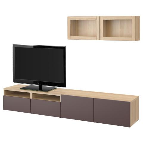 Шкаф для ТВ, комбинированный, стекляные дверцы БЕСТО артикуль № 891.373.06 в наличии. Онлайн сайт IKEA Минск. Быстрая доставка и установка.