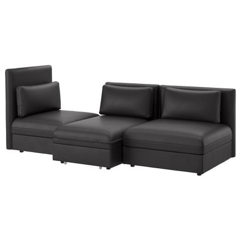 3-местный диван-кровать ВАЛЛЕНТУНА черный артикуль № 991.494.60 в наличии. Интернет магазин ИКЕА Минск. Быстрая доставка и установка.
