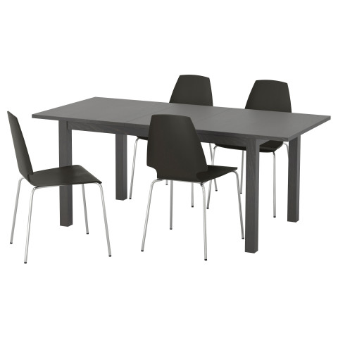 Стол и 4 стула БЬЮРСТА / ВИЛЬМАР коричнево-чёрный артикуль № 590.143.78 в наличии. Интернет сайт ИКЕА РБ. Недорогая доставка и соборка.