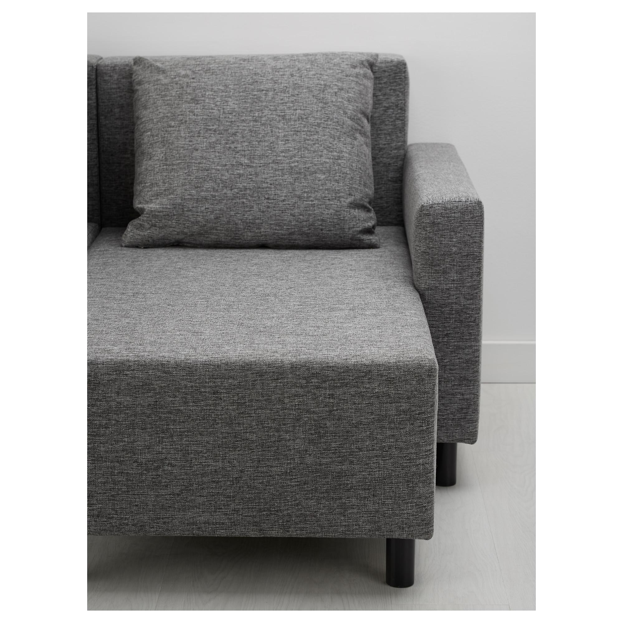 Диван-кровать с козеткой ЛУГНВИК серый черный артикуль № 503.450.47 в  наличии 3f8386367cd