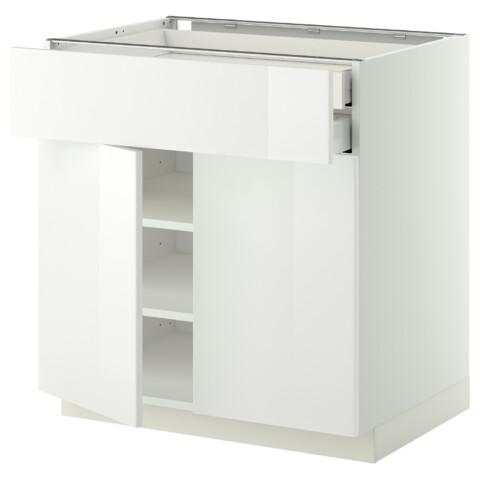 Напольный шкаф, 2 дверцы, 2 ящика МЕТОД / МАКСИМЕРА белый артикуль № 591.093.57 в наличии. Online сайт IKEA Минск. Быстрая доставка и установка.