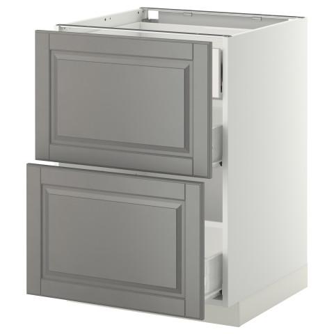 Напольный шкаф 2 фронтальные панели, 3 средняя ящик МЕТОД / ФОРВАРА белый артикуль № 099.138.57 в наличии. Online сайт IKEA РБ. Быстрая доставка и соборка.