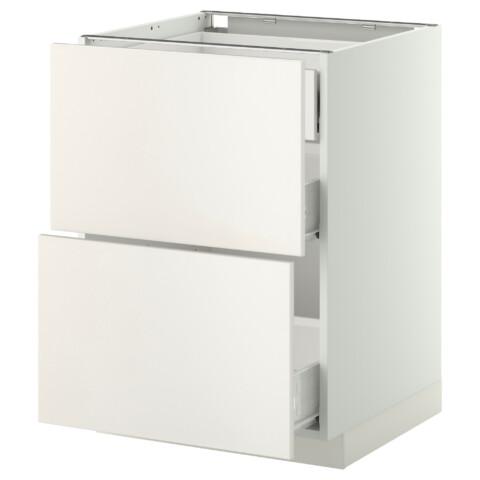 Напольный шкаф 2 фронтальные панели, 3 средняя ящик МЕТОД / ФОРВАРА белый артикуль № 199.157.71 в наличии. Интернет каталог IKEA РБ. Недорогая доставка и установка.
