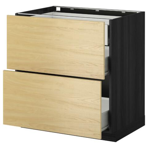 Напольный шкаф 2 фронтальные панели, 3 средняя ящик МЕТОД / ФОРВАРА черный артикуль № 699.118.60 в наличии. Online каталог IKEA РБ. Быстрая доставка и монтаж.