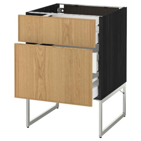 Напольный шкаф 2 фронтальные панели, 3 средняя ящик МЕТОД / МАКСИМЕРА черный артикуль № 191.065.77 в наличии. Интернет каталог IKEA Минск. Недорогая доставка и установка.