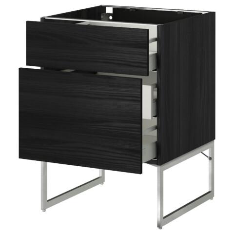 Напольный шкаф 2 фронтальные панели, 3 средняя ящик МЕТОД / МАКСИМЕРА черный артикуль № 191.066.00 в наличии. Онлайн сайт IKEA Беларусь. Быстрая доставка и установка.