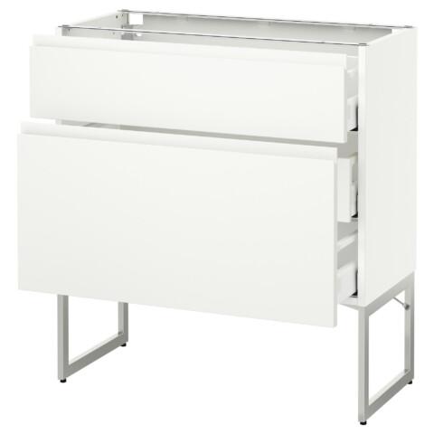 Напольный шкаф 2 фронтальные панели, 3 средняя ящик МЕТОД / МАКСИМЕРА белый артикуль № 191.307.75 в наличии. Online сайт IKEA РБ. Быстрая доставка и монтаж.