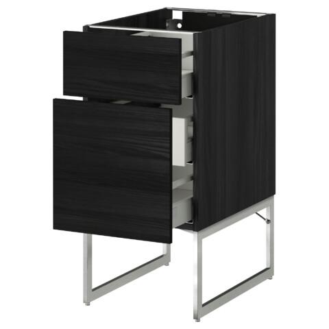 Напольный шкаф 2 фронтальные панели, 3 средняя ящик МЕТОД / МАКСИМЕРА черный артикуль № 291.065.53 в наличии. Онлайн каталог IKEA Минск. Быстрая доставка и соборка.
