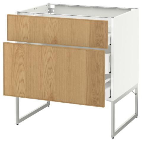 Напольный шкаф 2 фронтальные панели, 3 средняя ящик МЕТОД / МАКСИМЕРА белый артикуль № 291.066.33 в наличии. Онлайн сайт IKEA Минск. Недорогая доставка и установка.