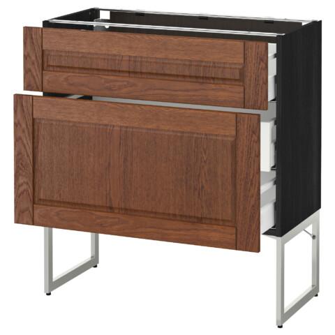 Напольный шкаф 2 фронтальные панели, 3 средняя ящик МЕТОД / МАКСИМЕРА черный артикуль № 491.080.56 в наличии. Online сайт IKEA РБ. Быстрая доставка и установка.