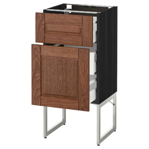 Напольный шкаф 2 фронтальные панели, 3 средняя ящик МЕТОД / МАКСИМЕРА черный артикуль № 591.079.52 в наличии. Интернет магазин IKEA РБ. Недорогая доставка и соборка.