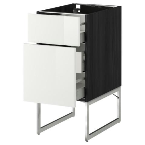 Напольный шкаф 2 фронтальные панели, 3 средняя ящик МЕТОД / МАКСИМЕРА черный артикуль № 691.065.51 в наличии. Online сайт IKEA Минск. Недорогая доставка и монтаж.