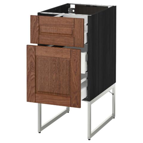 Напольный шкаф 2 фронтальные панели, 3 средняя ящик МЕТОД / МАКСИМЕРА черный артикуль № 791.065.36 в наличии. Интернет каталог IKEA РБ. Быстрая доставка и соборка.