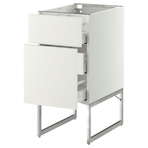 Напольный шкаф 2 фронтальные панели, 3 средняя ящик МЕТОД / МАКСИМЕРА белый артикуль № 791.065.60 в наличии. Онлайн сайт IKEA РБ. Недорогая доставка и установка.