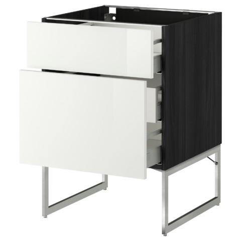 Напольный шкаф 2 фронтальные панели, 3 средняя ящик МЕТОД / МАКСИМЕРА черный артикуль № 791.065.98 в наличии. Интернет сайт IKEA Беларусь. Недорогая доставка и соборка.