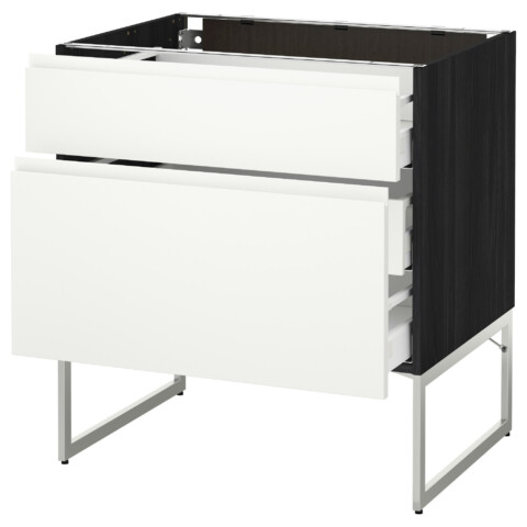 Напольный шкаф 2 фронтальные панели, 3 средняя ящик МЕТОД / МАКСИМЕРА черный артикуль № 791.307.20 в наличии. Online магазин IKEA РБ. Недорогая доставка и установка.