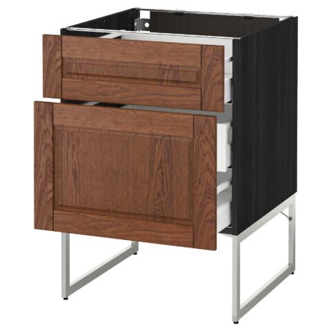 Напольный шкаф 2 фронтальные панели, 3 средняя ящик МЕТОД / МАКСИМЕРА черный артикуль № 991.065.78 в наличии. Онлайн сайт IKEA Республика Беларусь. Быстрая доставка и монтаж.