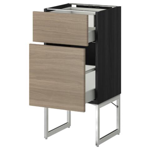 Напольный шкаф 2 фронтальных панели, 2 нижних,1 встроенный ящик МЕТОД / МАКСИМЕРА черный артикуль № 091.081.19 в наличии. Онлайн каталог IKEA РБ. Недорогая доставка и монтаж.