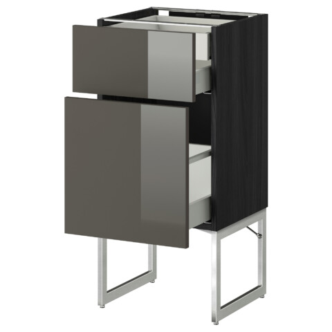 Напольный шкаф 2 фронтальных панели, 2 нижних,1 встроенный ящик МЕТОД / МАКСИМЕРА черный артикуль № 391.081.32 в наличии. Онлайн магазин IKEA Минск. Недорогая доставка и соборка.