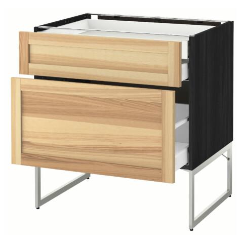 Напольный шкаф 2 фронтальных панели, 2 нижних,1 встроенный ящик МЕТОД / МАКСИМЕРА черный артикуль № 491.532.23 в наличии. Online магазин IKEA Беларусь. Недорогая доставка и монтаж.