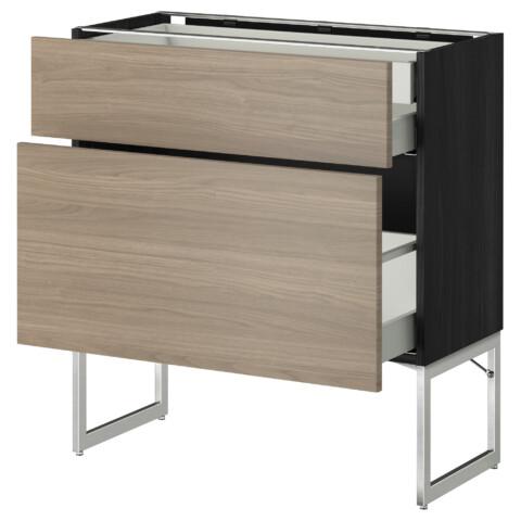 Напольный шкаф 2 фронтальных панели, 2 нижних,1 встроенный ящик МЕТОД / МАКСИМЕРА черный артикуль № 591.082.25 в наличии. Онлайн каталог IKEA Беларусь. Быстрая доставка и установка.
