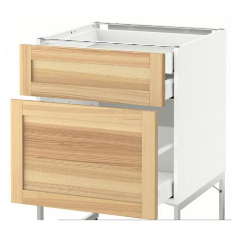 Напольный шкаф 2 фронтальных панели, 2 нижних,1 встроенный ящик МЕТОД / МАКСИМЕРА белый артикуль № 691.532.22 в наличии. Online каталог IKEA РБ. Быстрая доставка и установка.