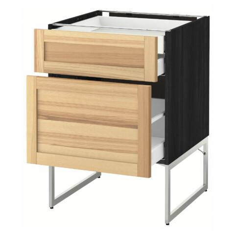 Напольный шкаф 2 фронтальных панели, 2 нижних,1 встроенный ящик МЕТОД / МАКСИМЕРА черный артикуль № 891.532.21 в наличии. Интернет магазин IKEA РБ. Недорогая доставка и соборка.