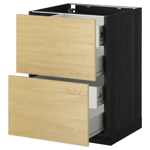Напольный шкаф 2 фронтальных панели, 4 средняя ящик МЕТОД / ФОРВАРА черный артикуль № 599.118.70 в наличии. Онлайн магазин IKEA Минск. Недорогая доставка и соборка.