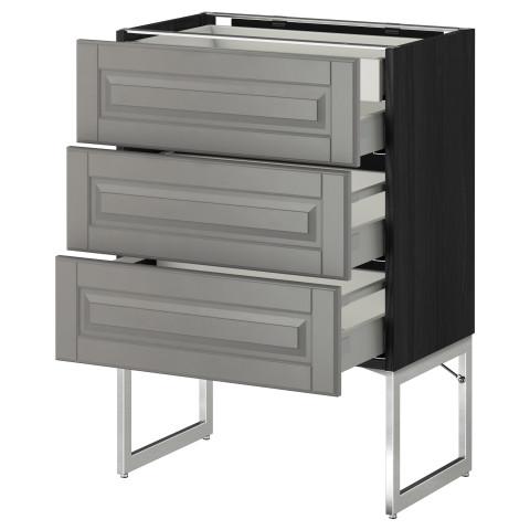 Напольный шкаф 3 фронтальных панели, 2 нижних, 2 средних ящика МЕТОД черный артикуль № 791.072.15 в наличии. Online каталог IKEA РБ. Недорогая доставка и установка.