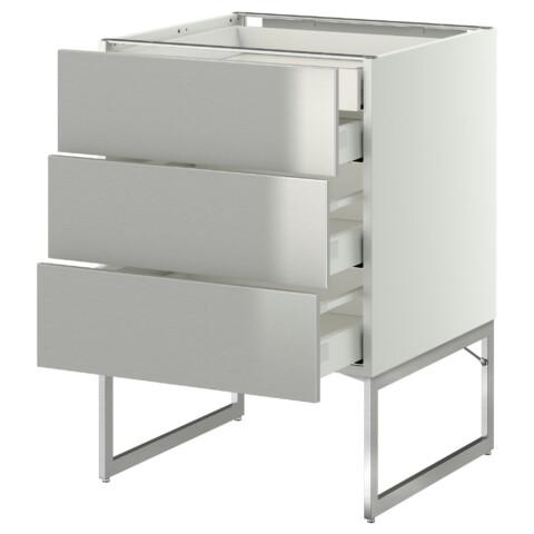 Напольный шкаф 3 фронтальных панели, 2 нижних, 2 средних ящика МЕТОД / МАКСИМЕРА белый артикуль № 091.057.81 в наличии. Интернет магазин IKEA Беларусь. Недорогая доставка и соборка.