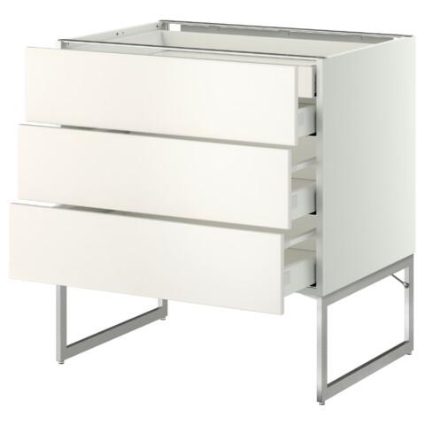 Напольный шкаф 3 фронтальных панели, 2 нижних, 2 средних ящика МЕТОД / МАКСИМЕРА белый артикуль № 091.058.75 в наличии. Интернет сайт IKEA Минск. Недорогая доставка и соборка.