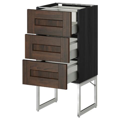 Напольный шкаф 3 фронтальных панели, 2 нижних, 2 средних ящика МЕТОД / МАКСИМЕРА черный артикуль № 091.071.48 в наличии. Интернет сайт IKEA Беларусь. Быстрая доставка и монтаж.