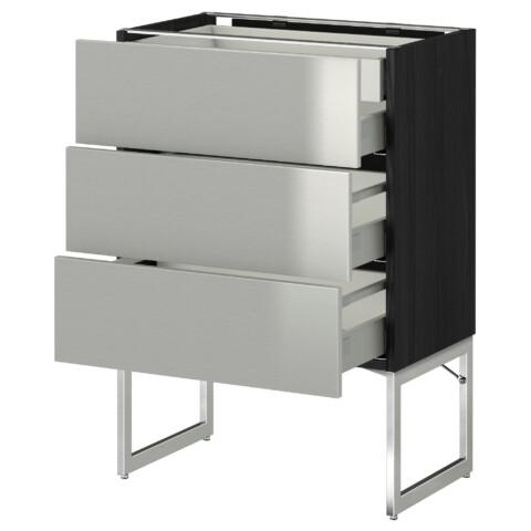 Напольный шкаф 3 фронтальных панели, 2 нижних, 2 средних ящика МЕТОД / МАКСИМЕРА черный артикуль № 191.071.95 в наличии. Онлайн магазин IKEA РБ. Недорогая доставка и монтаж.